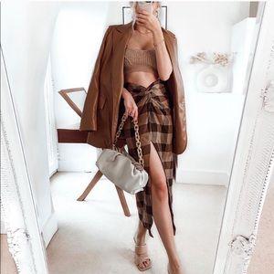 Zara Plaid Wrap Knot Skirt small